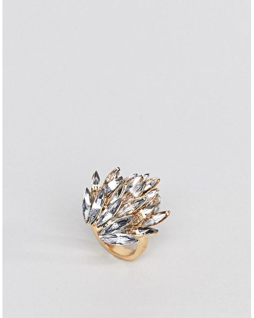 ASOS DESIGN - Metallic Asos Statement Jewel Ring - Lyst