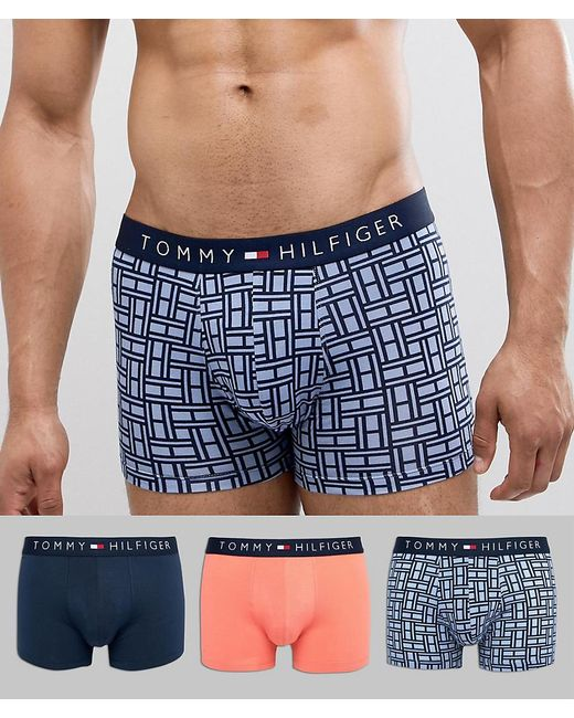 Tommy Hilfiger - Blue 3 Pack Trunks Navy Waistband In Navy/coral/monogram Print for Men - Lyst