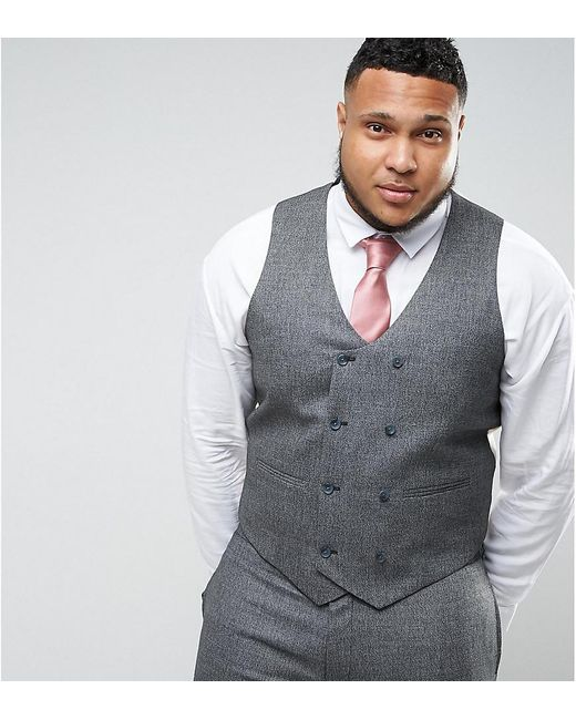 ASOS | Plus Wedding Skinny Suit Vest In Woven Texture In Slate Gray for Men | Lyst