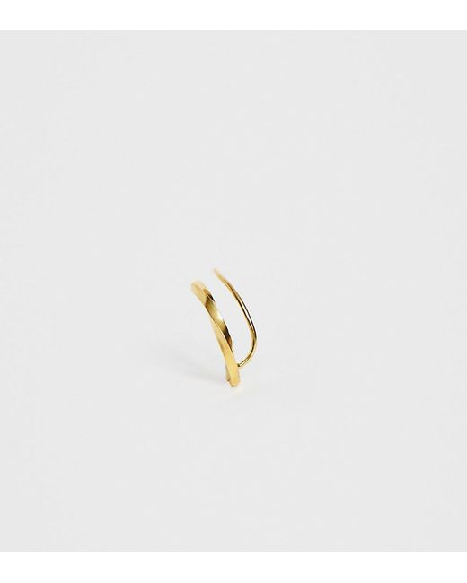 9de7b0840 ASOS - Metallic Sterling Silver With Gold Plate Ear Climber In Twisted Bar  Design - Lyst ...