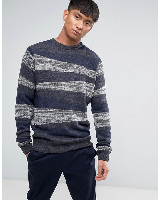 Bellfield | Blue Block Pattern Twist Knitted Jumper for Men | Lyst