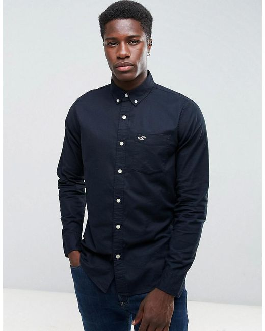 Hollister - Oxford Shirt Cross Dye Slim Fit In Black for Men - Lyst