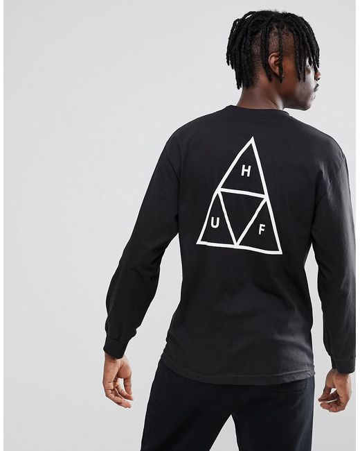 caaf762b Huf Triple Triangle Long Sleeve T-shirt In Black in Black for Men - Lyst