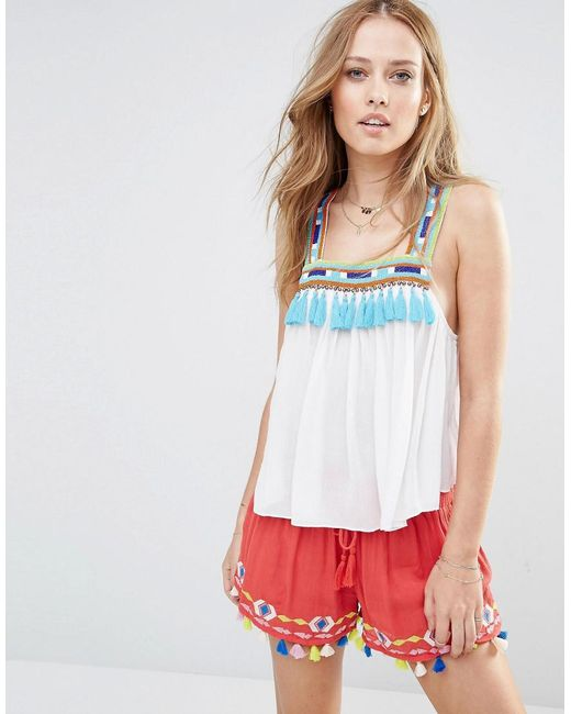 Piper | White Bacoor Tassle Trapeze Top | Lyst