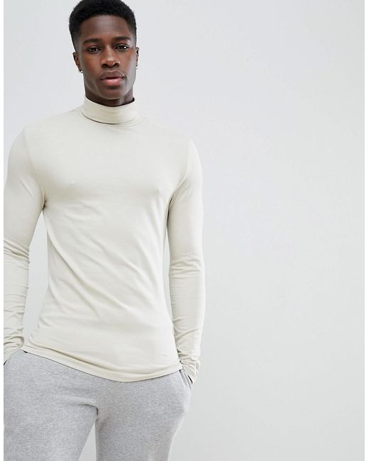 ASOS - Natural Design Muscle Fit Long Sleeve T-shirt With Roll Neck for Men - Lyst
