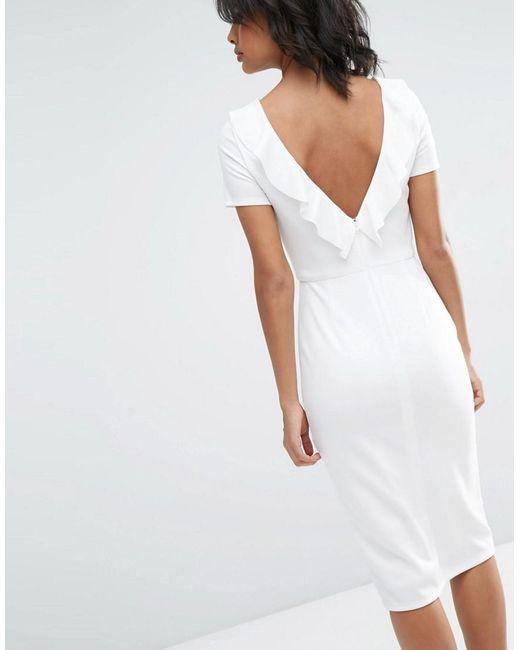 ASOS | White Ruffle Back Midi Dress | Lyst
