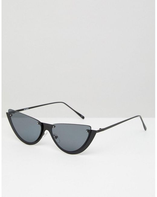ASOS - Black Sliced Top Extreme Cat Eye Sunglasses - Lyst