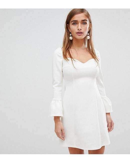 21743f61d8a7c ASOS - White Asos Design Petite Sweetheart Mini Dress With Fluted Sleeve -  Lyst ...