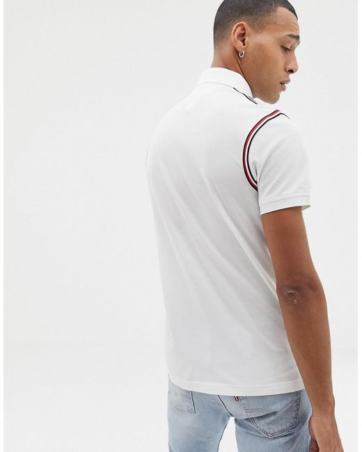 71090ac2 ... Tommy Hilfiger - Icon Tape Trim Pique Polo Slim Fit In White for Men -  Lyst