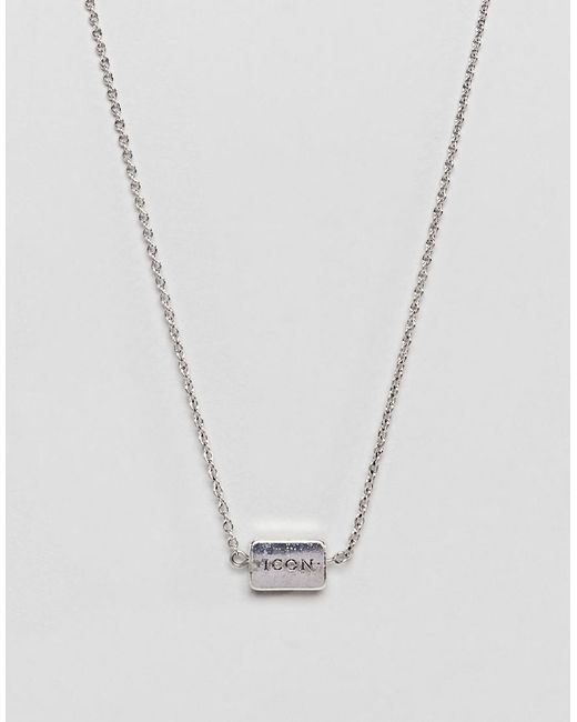 Icon Brand - Metallic Antique Silver Necklace With Pinstripe Detail for Men - Lyst