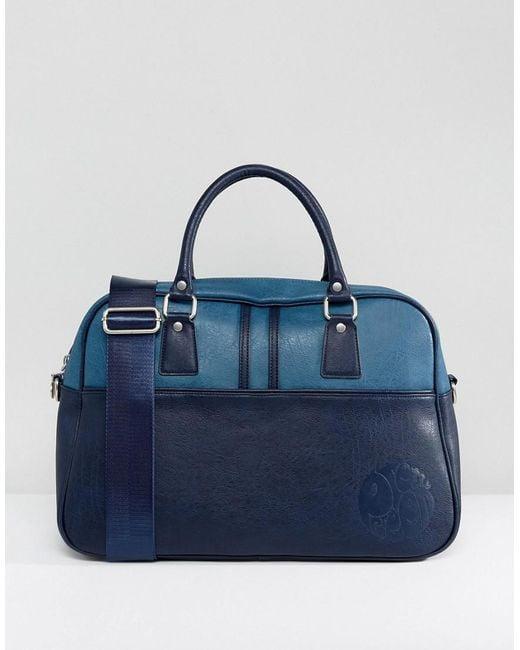 Pretty Green | Blue Faux Leather Logo Gym Bag for Men | Lyst