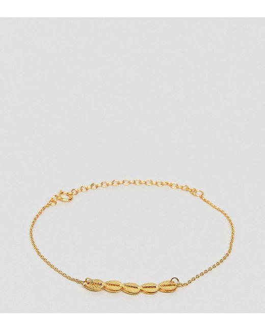 ASOS - Metallic Gold Plated Sterling Silver Petal Bracelet - Lyst