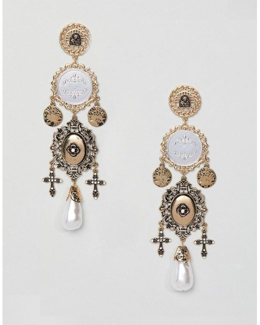 ASOS - Metallic Statement Earrings In Vintage Style Coin And Cut Out Design With Pearls In Gold - Lyst