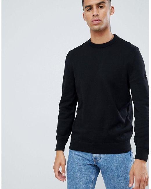 structural disablities good looking luxury aesthetic Men's Slim Fit Baffle Patch Crew Neck Jumper In Black