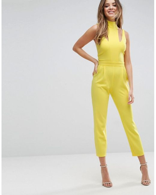 ASOS | Yellow Jumpsuit With Cut Out Detail And High Neck | Lyst