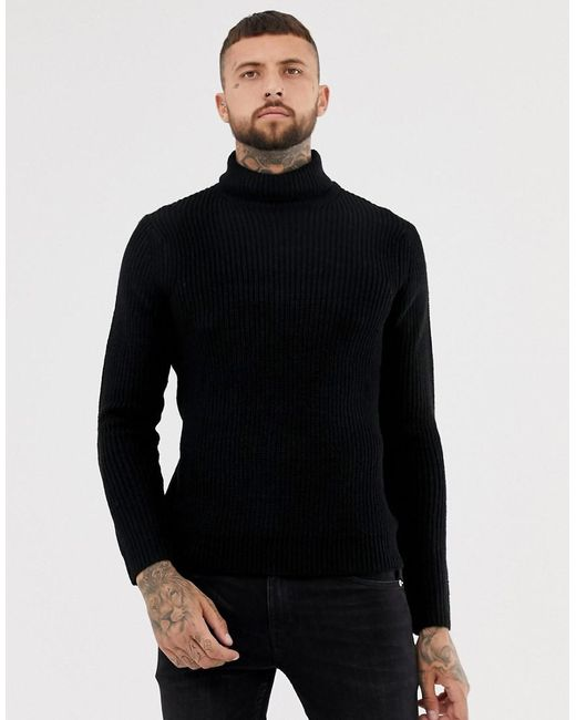 Bershka - Knitted Roll Neck Jumper In Black for Men - Lyst