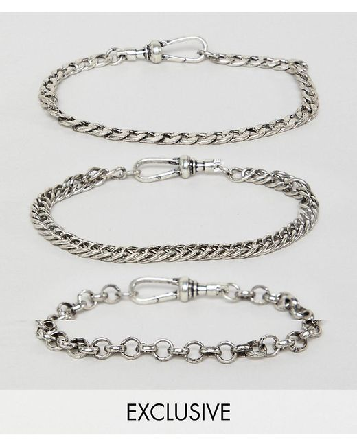 Reclaimed (vintage) - Metallic Inspired Chain Bracelet Pack In Burnished Silver Exclusive At Asos for Men - Lyst