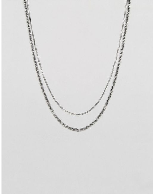Mister - Metallic Double Chain Rope Necklace In Silver for Men - Lyst