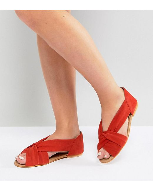 7e676556a23c ASOS - Red Asos Janel Wide Fit Suede Summer Shoes - Lyst ...