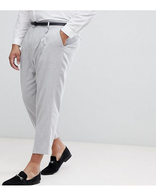 f46b4b13c4b0 ASOS - Gray Asos Plus Tapered Smart Pants In Ice Grey Cross Hatch Nepp for  Men ...