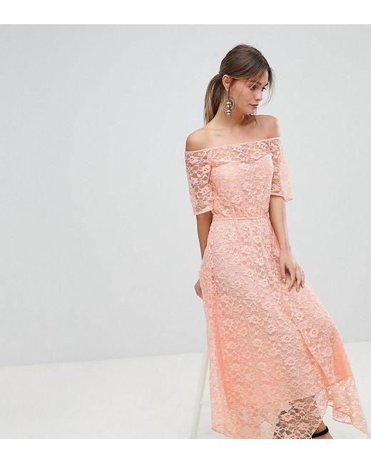 1af75ecb08369 Boohoo - Pink Exclusive Bardot Lace Midi Dress - Lyst ...