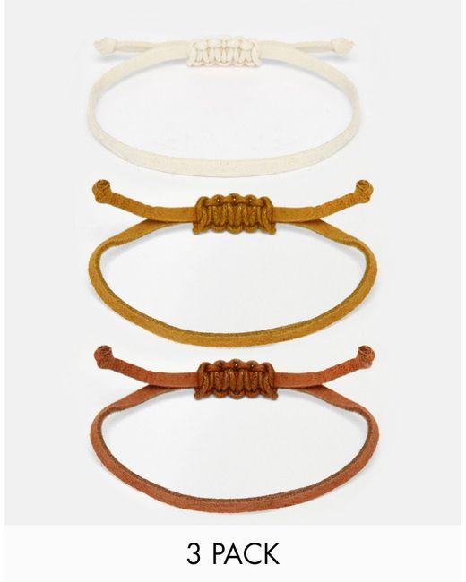 asos rope bracelet pack in brown for lyst