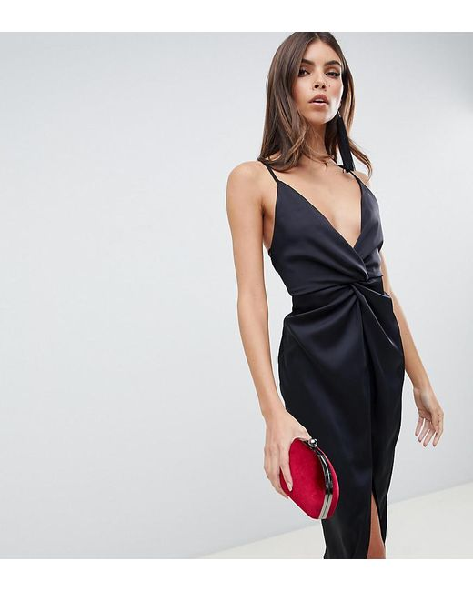 7d3526d8abd20 ASOS - Black Midi Strappy Cami With Knot Front Plunge In Satin - Lyst ...