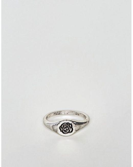 Asos DESIGN Ditsy Signet Ring With Rose In Burnished Gold - Gold lKBeTN