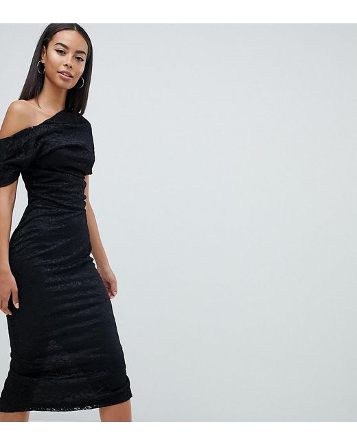 Lyst Asos Asos Design Tall Pleated Shoulder Lace Midi Dress In Black