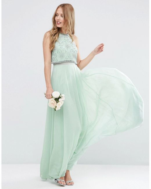 Asos Wedding Embellished Crop Top Maxi Dress
