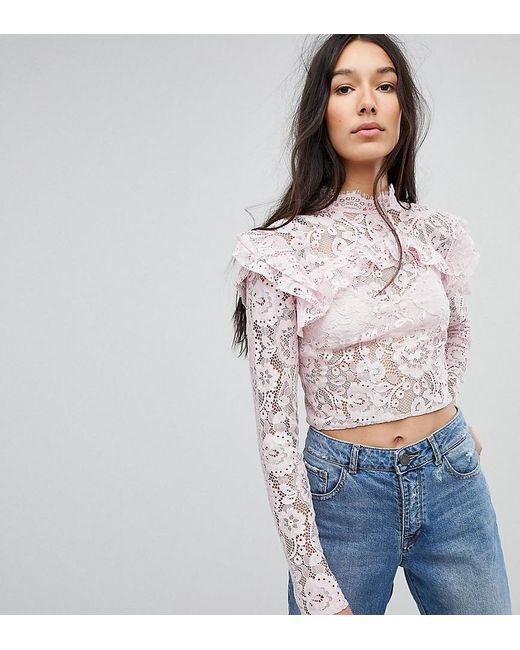 8fd0673d9cb32 ASOS - Pink Asos Design Tall Lace Crop Long Sleeve Top - Lyst ...