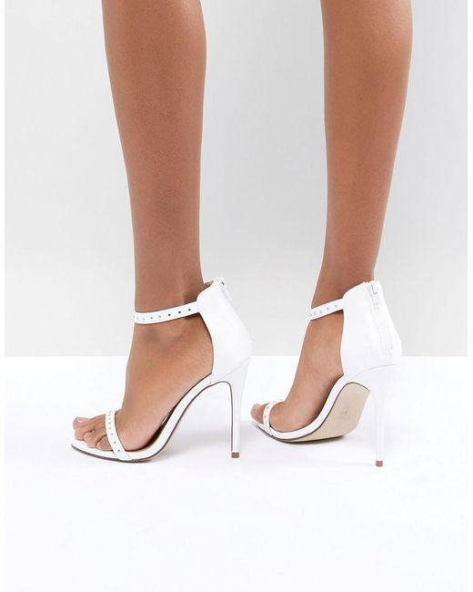 New Look - White Stud Minimal High Sandal - Lyst