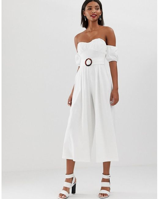 4d9e15184886 ASOS - White Off Shoulder Jumpsuit With Puff Sleeve And Buckle Detail - Lyst  ...