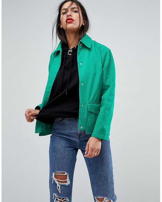 ASOS - Green Washed Cotton Jacket - Lyst