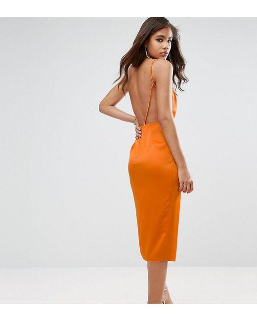 ASOS - Orange Drape Front Delicate Back Midi Dress - Lyst