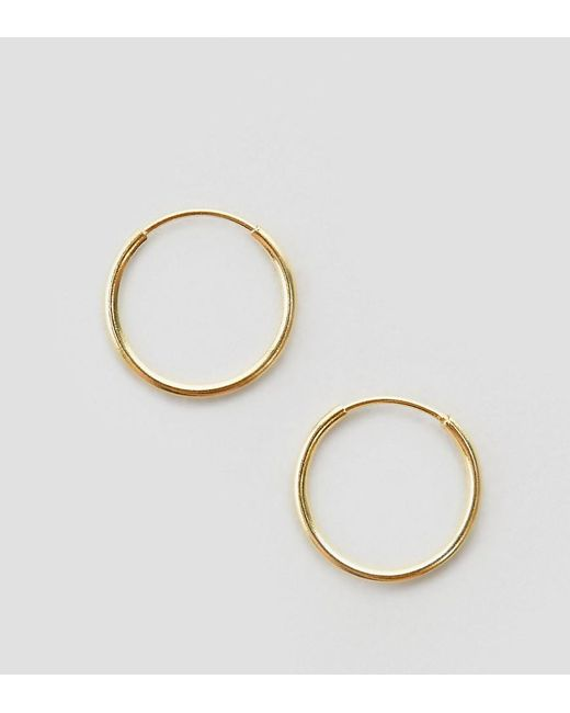 ASOS - Metallic Gold Plated Sterling Silver 9mm Hoop Earrings - Lyst
