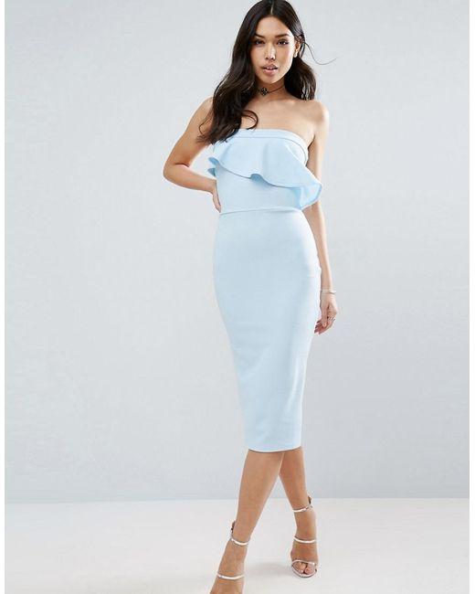 ASOS - Blue Textured Bandeau Asymmetric Ruffle Midi Dress - Lyst