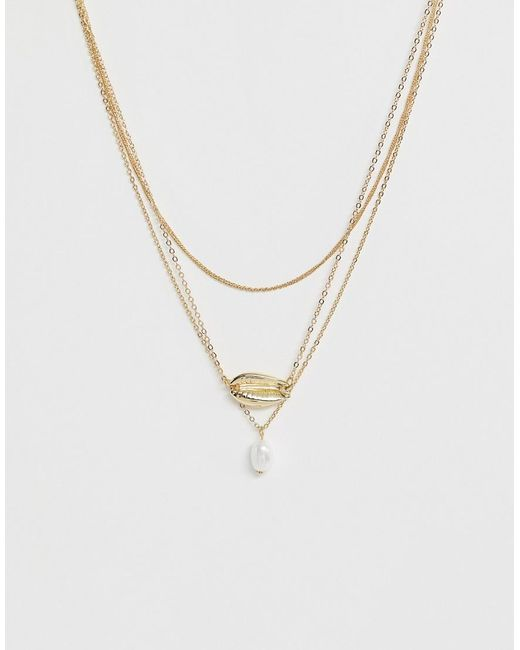 Pieces - Metallic Shell Pearl Detail Necklace - Lyst