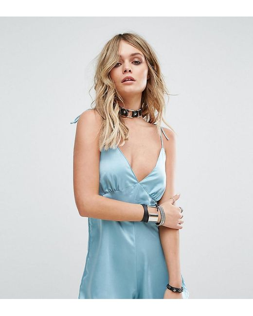 Motel | Blue Luxe Cami Romper In Satin | Lyst