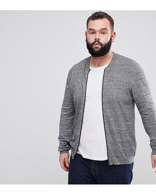 ASOS - Asos Plus Knitted Cotton Bomber In Gray Twist for Men - Lyst