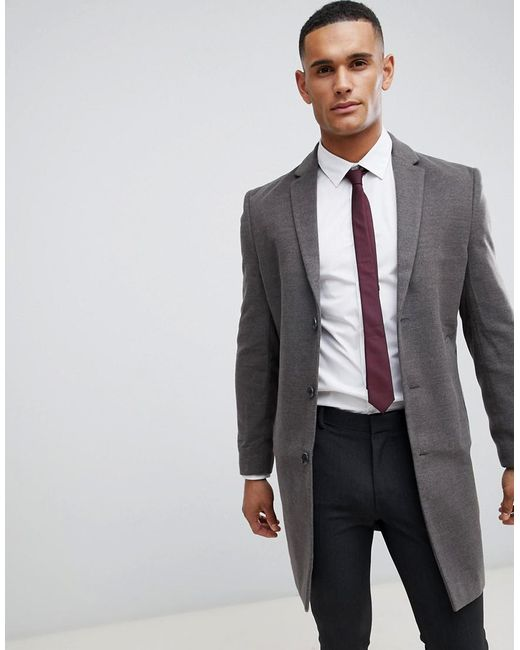 New Look - Smart Overcoat In Gray for Men - Lyst