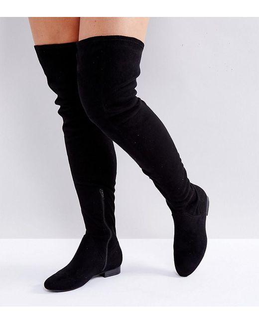 b3c14b324068b ASOS - Black Asos Kasba Wide Fit Flat Over The Knee Boots - Lyst ...