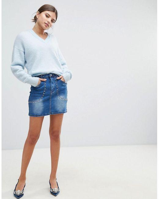 Missguided - Blue Studded Denim Skirt - Lyst