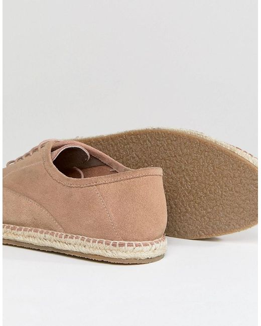 Frank Wright Lace Up Espadrilles In Suede L0BlctD