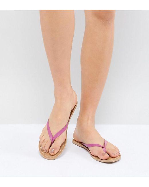 London Rebel - Pink Leather Flat Sandals - Lyst