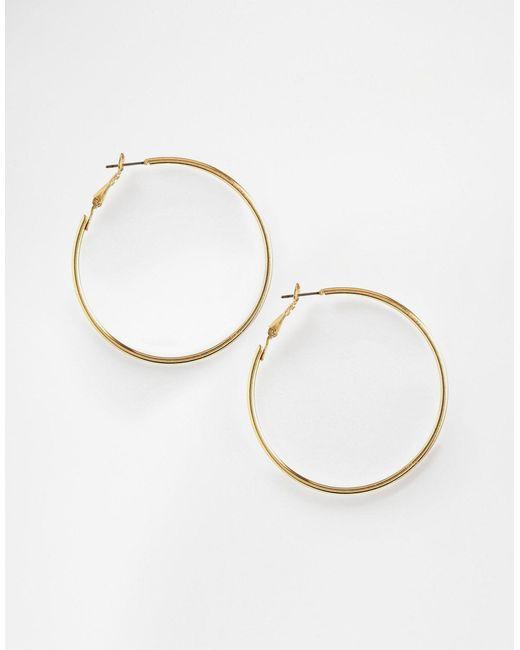 ASOS | Metallic Fine Wire 50mm Hoop Earrings | Lyst