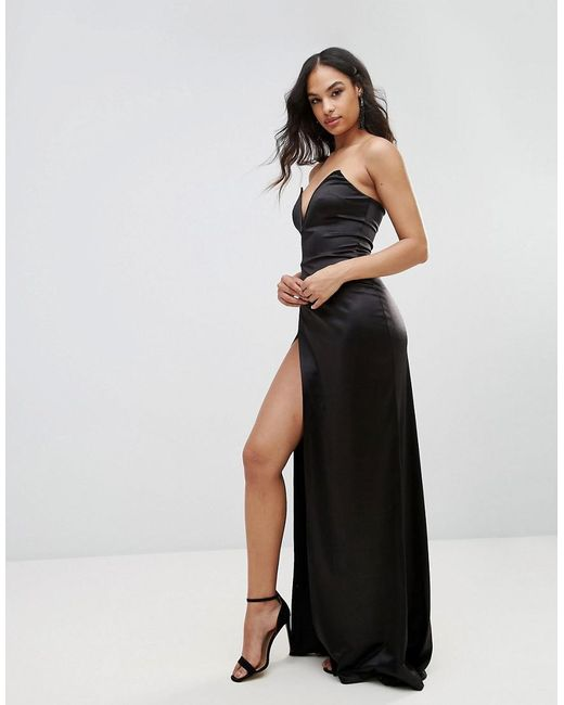 Plunge Front Bandeau Maxi Dress With Thigh Split - Black Club L gZmju9QL1