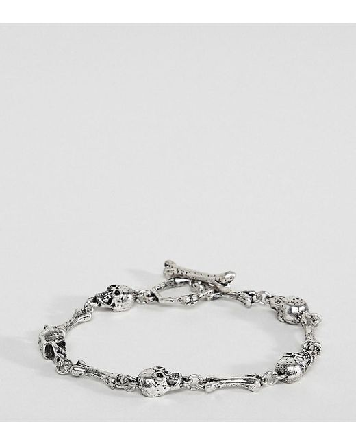 Reclaimed (vintage) - Metallic Inspired Chain Bracelet With Skulls Exclusive At Asos for Men - Lyst
