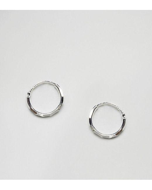 ASOS   Metallic Sterling Silver Faceted Hoop Earrings   Lyst