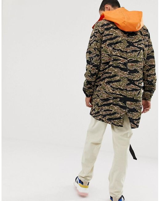9910a33782 ... Lacoste L!ive - Lacoste L!ve Camo Hooded Longline Jacket In Green for